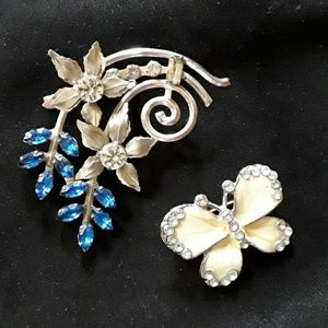 Enamel Butterfly and Blue Flowers Broaches